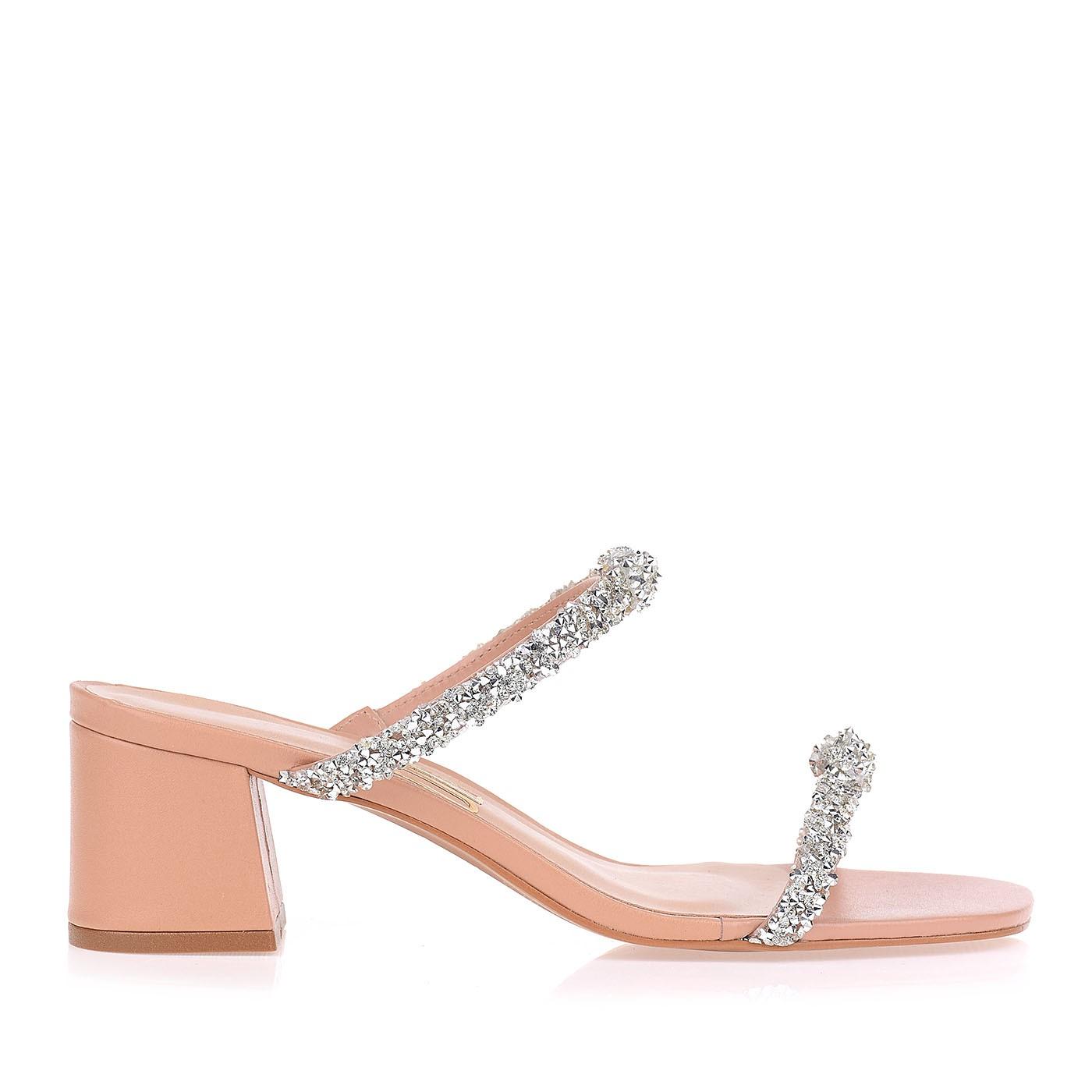 Sandália Salto Baixo Square Diamonds Strip
