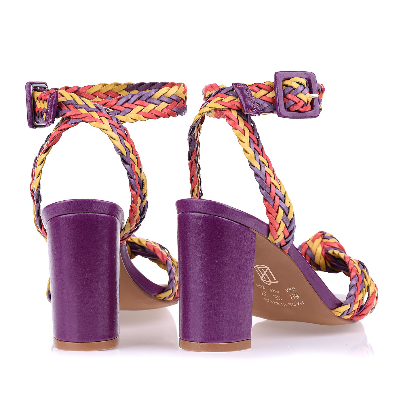 Sandália Salto Bloco Médio Color Tressê