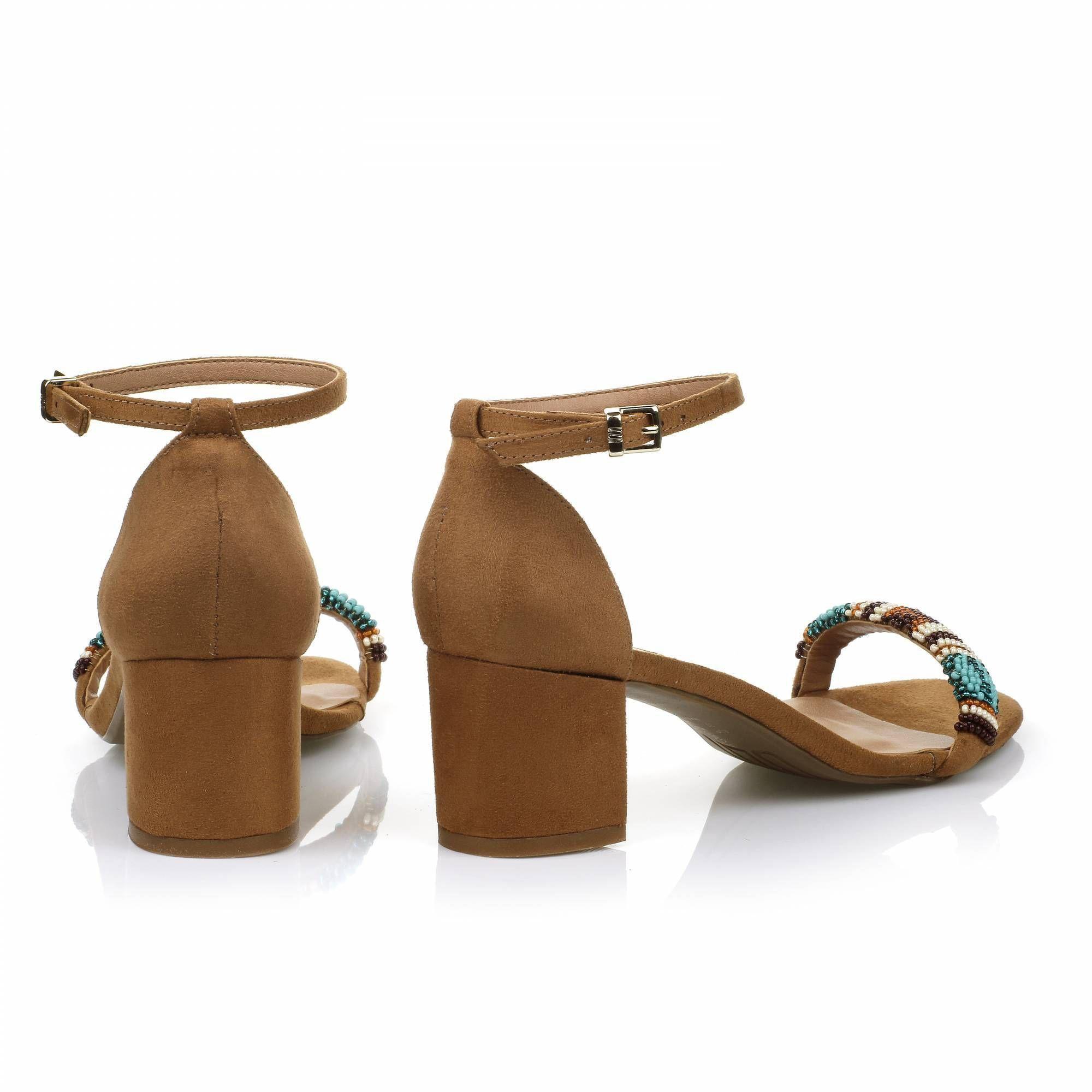 Sandália Salto Médio Camurça Camel