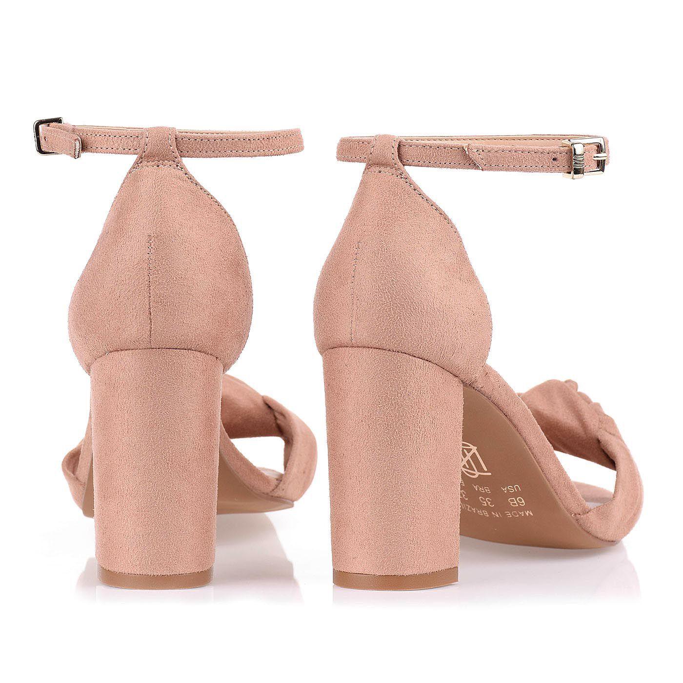 Sandália Salto Médio Camurça Nude