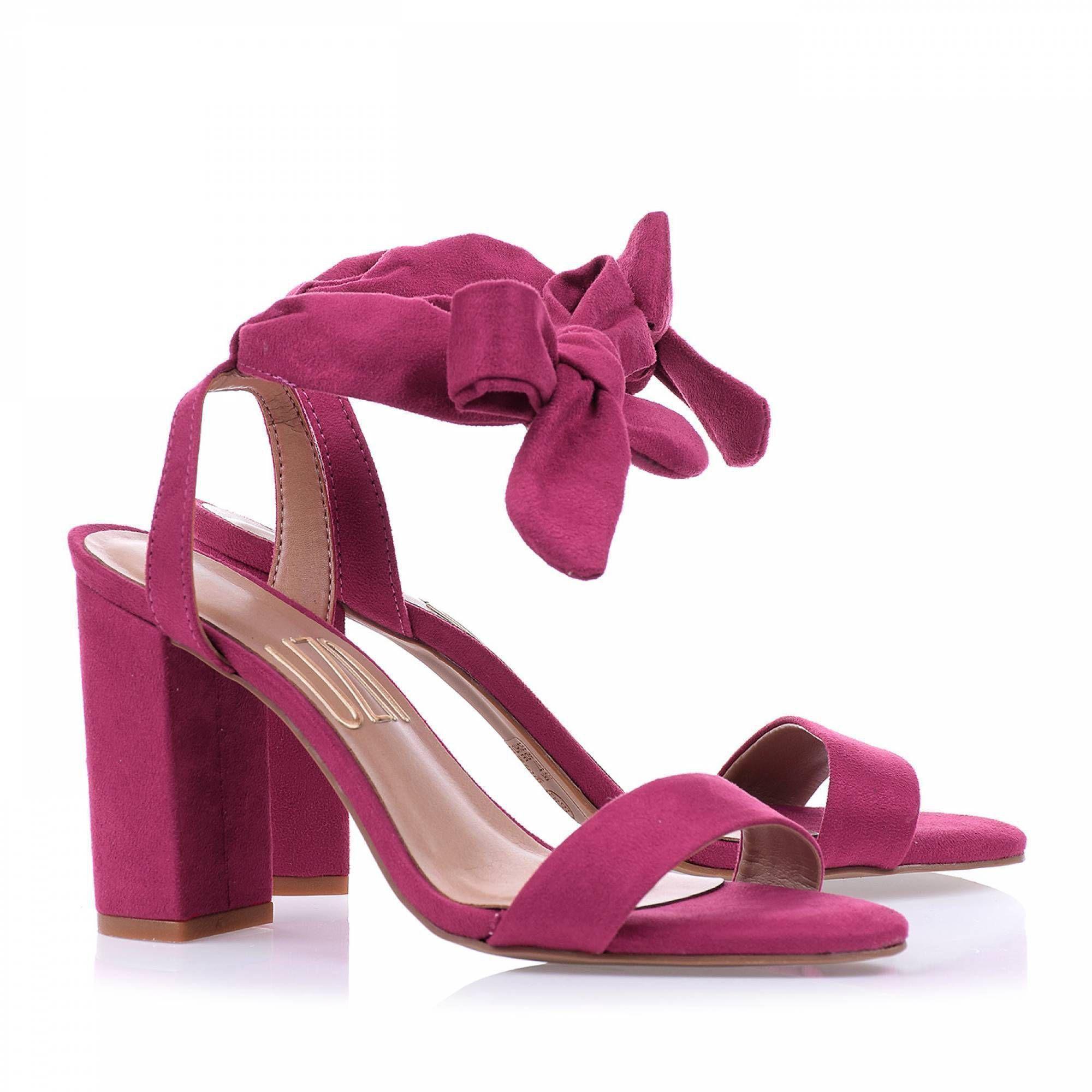 Sandália Salto Médio Camurça Pink