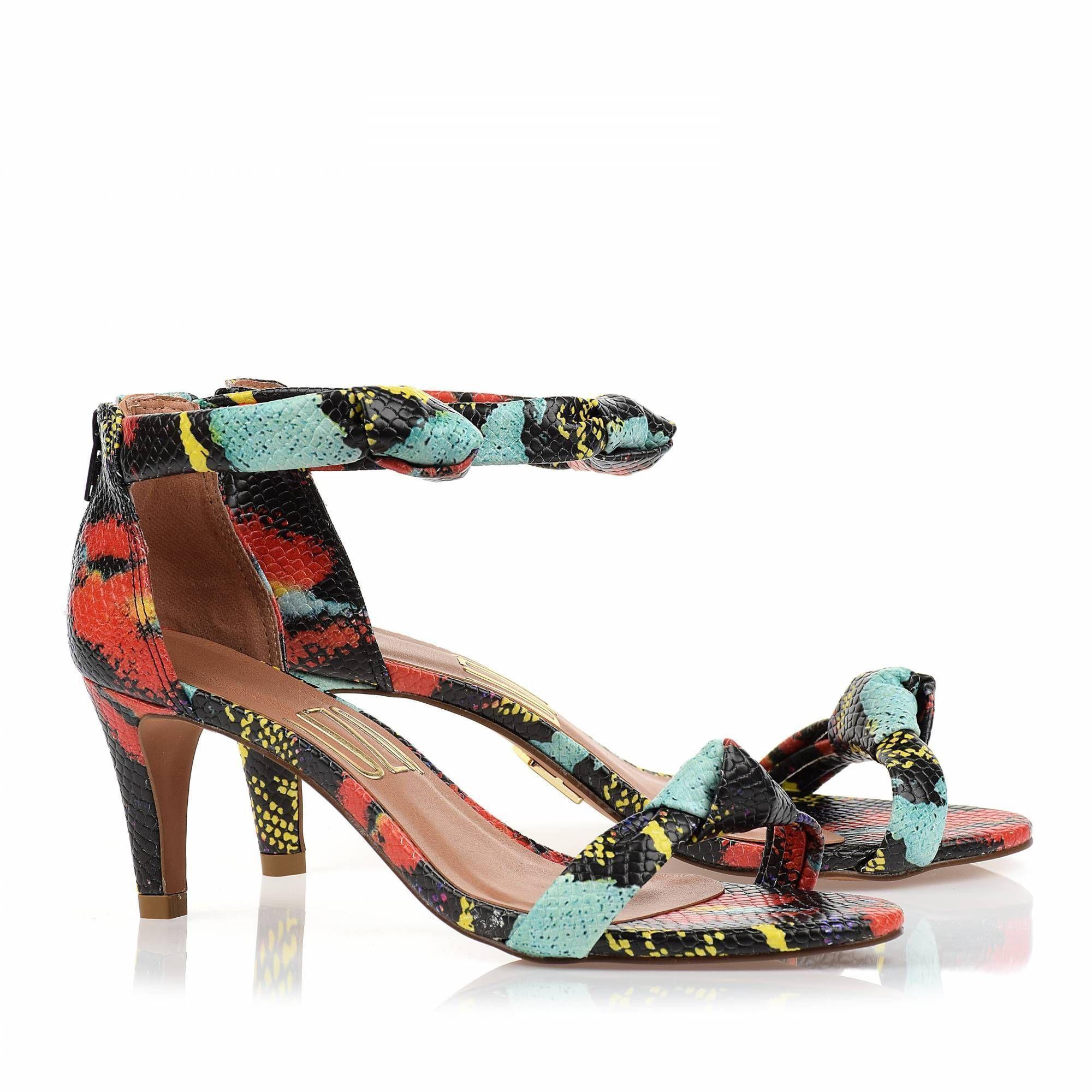 Sandália Salto Médio Color Pithon