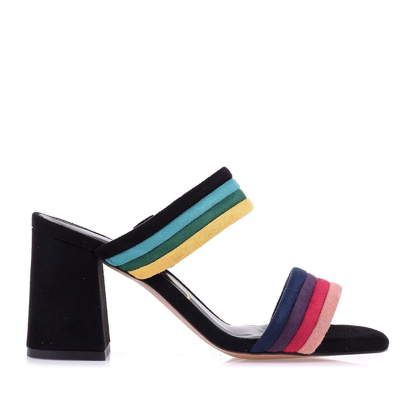 Sandália Salto Médio Color Straps Rose
