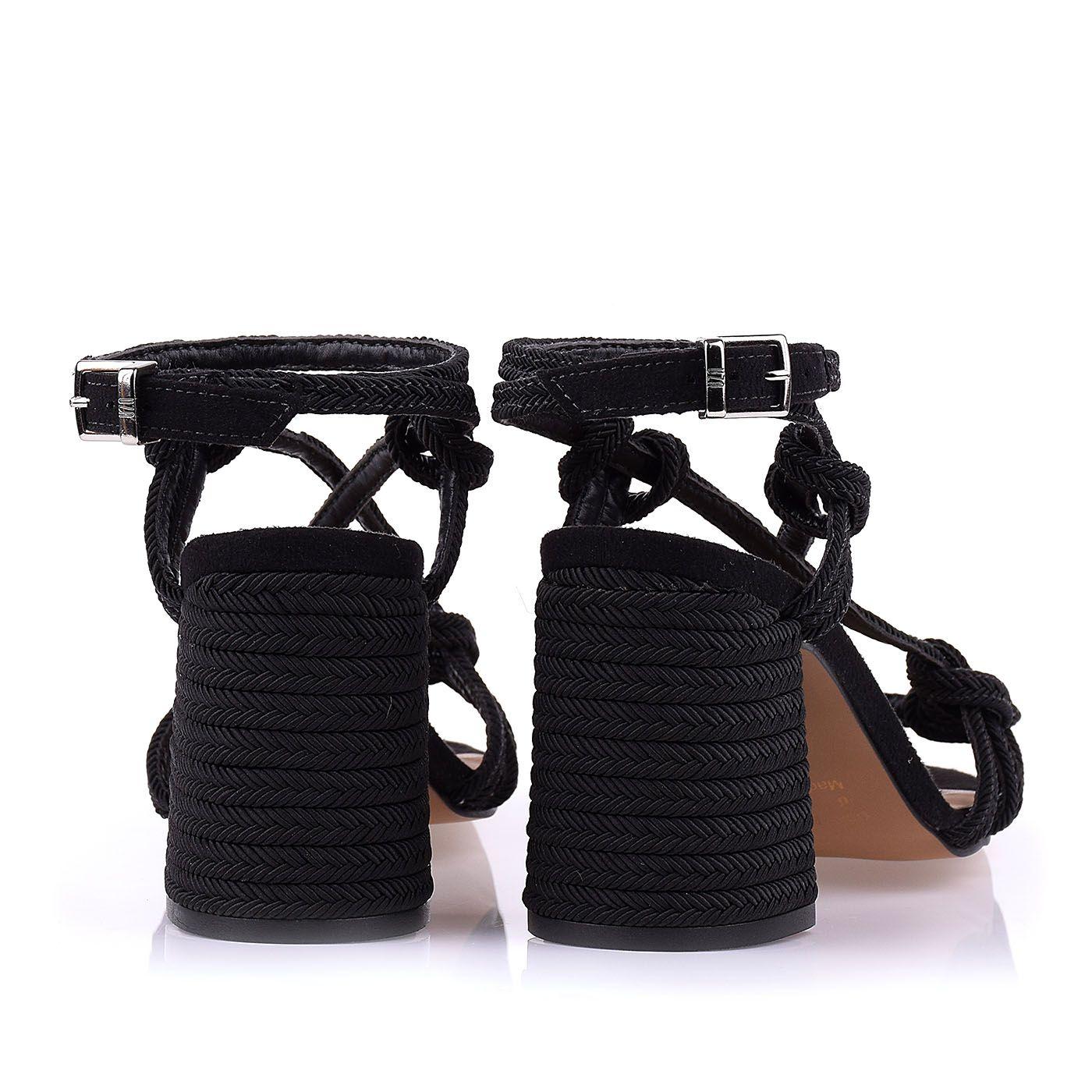 Sandália Salto Médio Corda Rope Preto