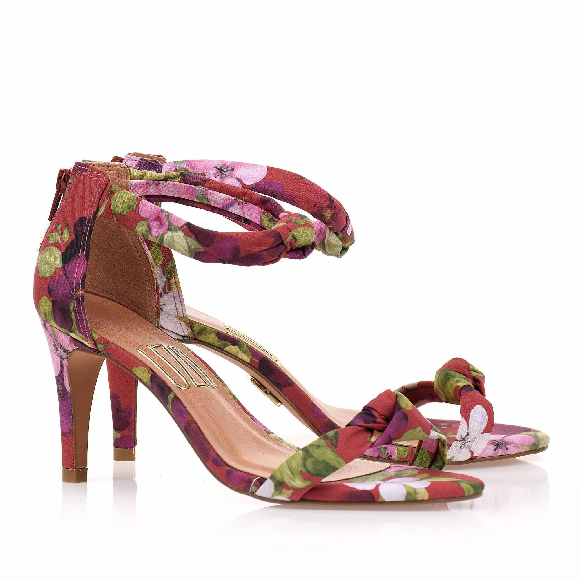 Sandália Salto Médio Floral Rubi