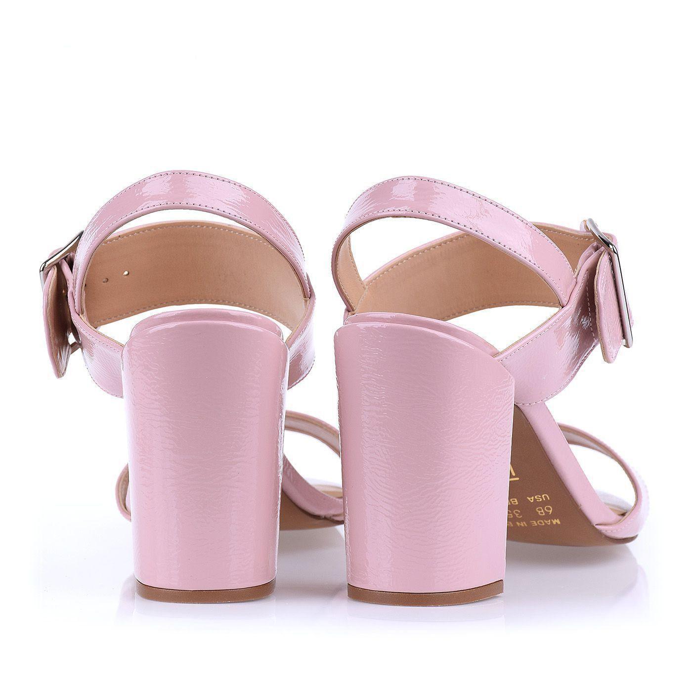 Sandália Salto Médio Grosso Verniz Molhado Candy