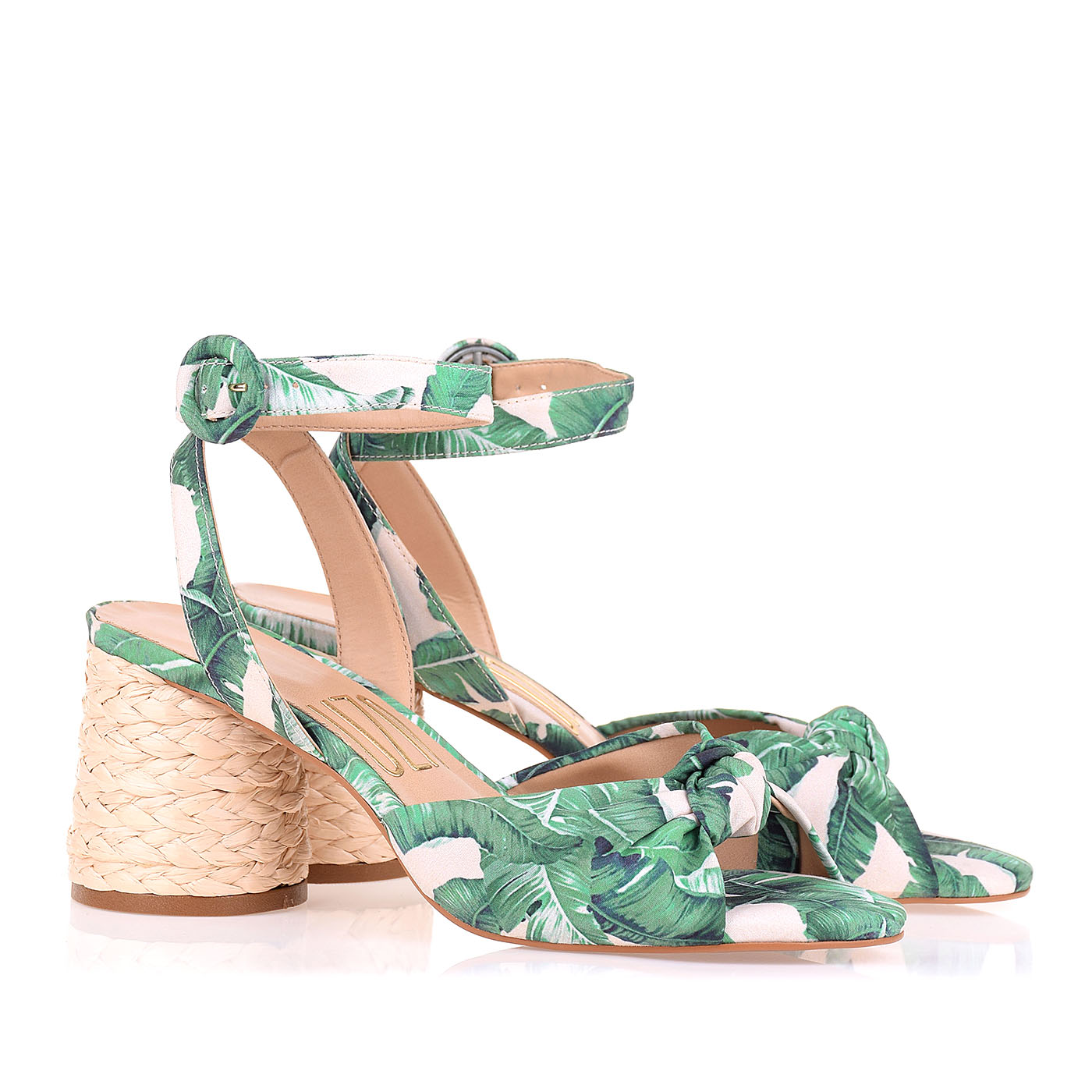 Sandália Salto Médio Leaves Green