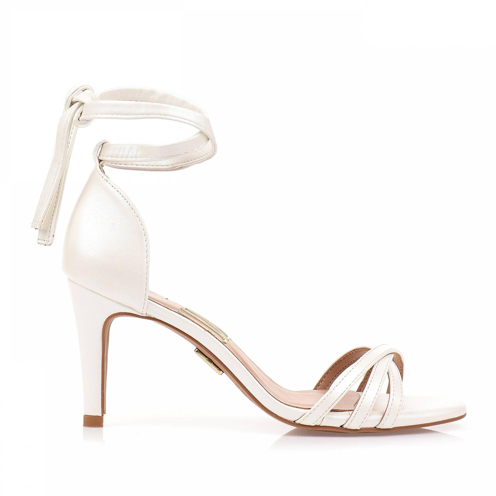 Sandália Salto Médio Metalic Pearl