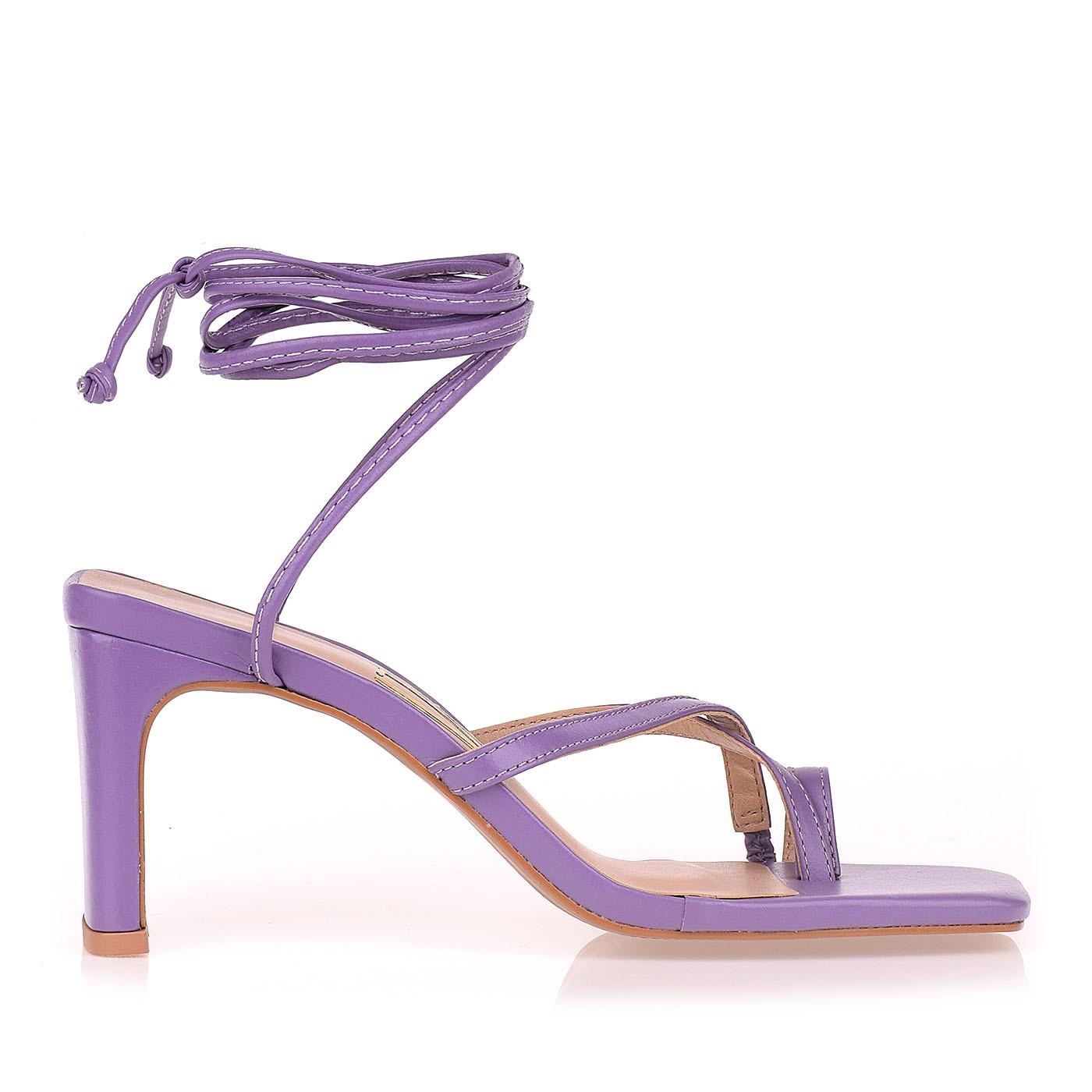 Sandália Salto Médio New Couro Lilac