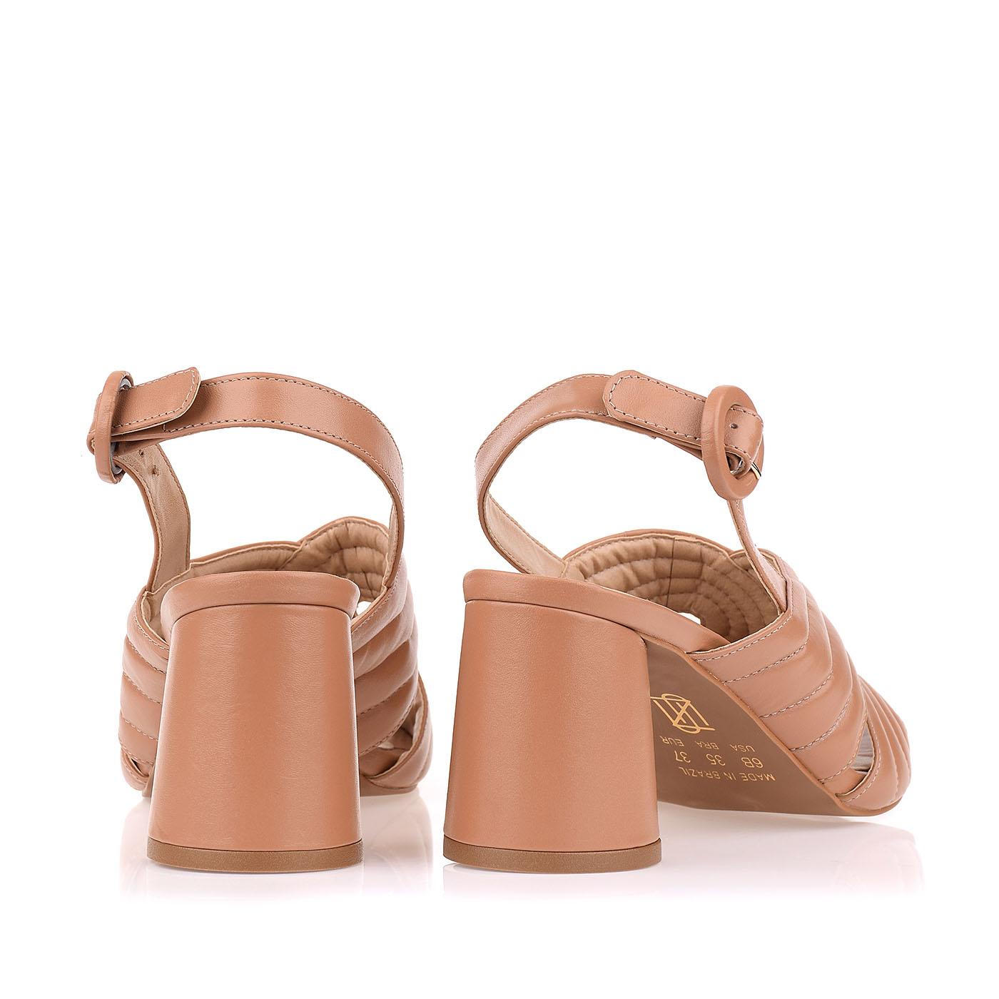 Sandália Salto Médio New Couro Tan