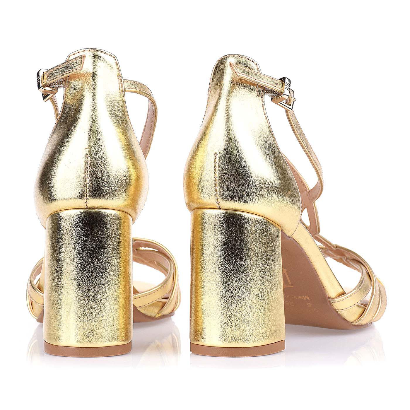 Sandália Salto Médio New Metal Ouro