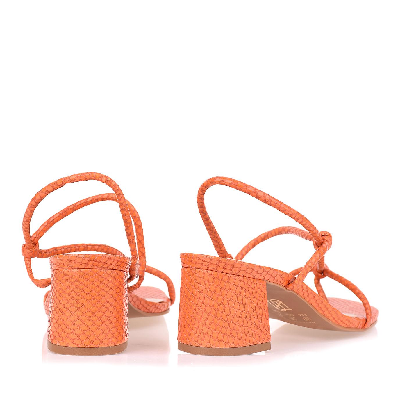 Sandália Salto Médio New Snake Orange