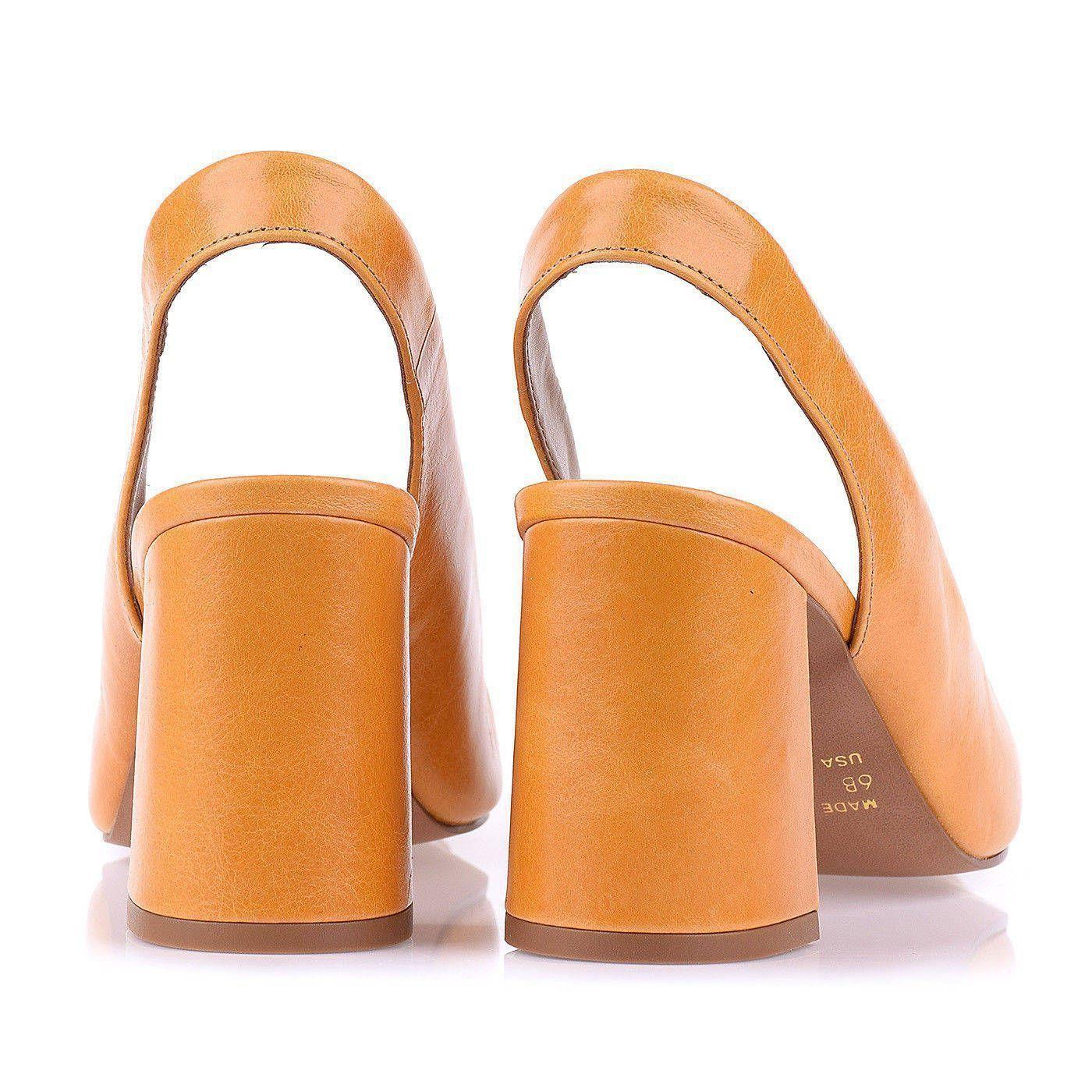 Sandália Salto Médio Peep Toe Couro Mustard