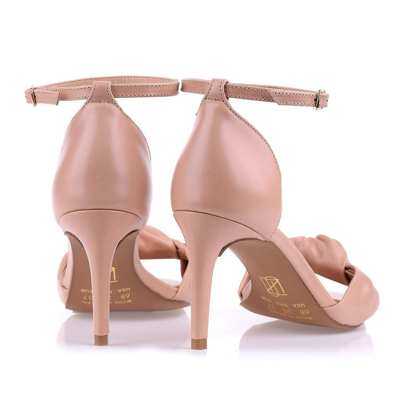 Sandália Salto Médio Couro Nude