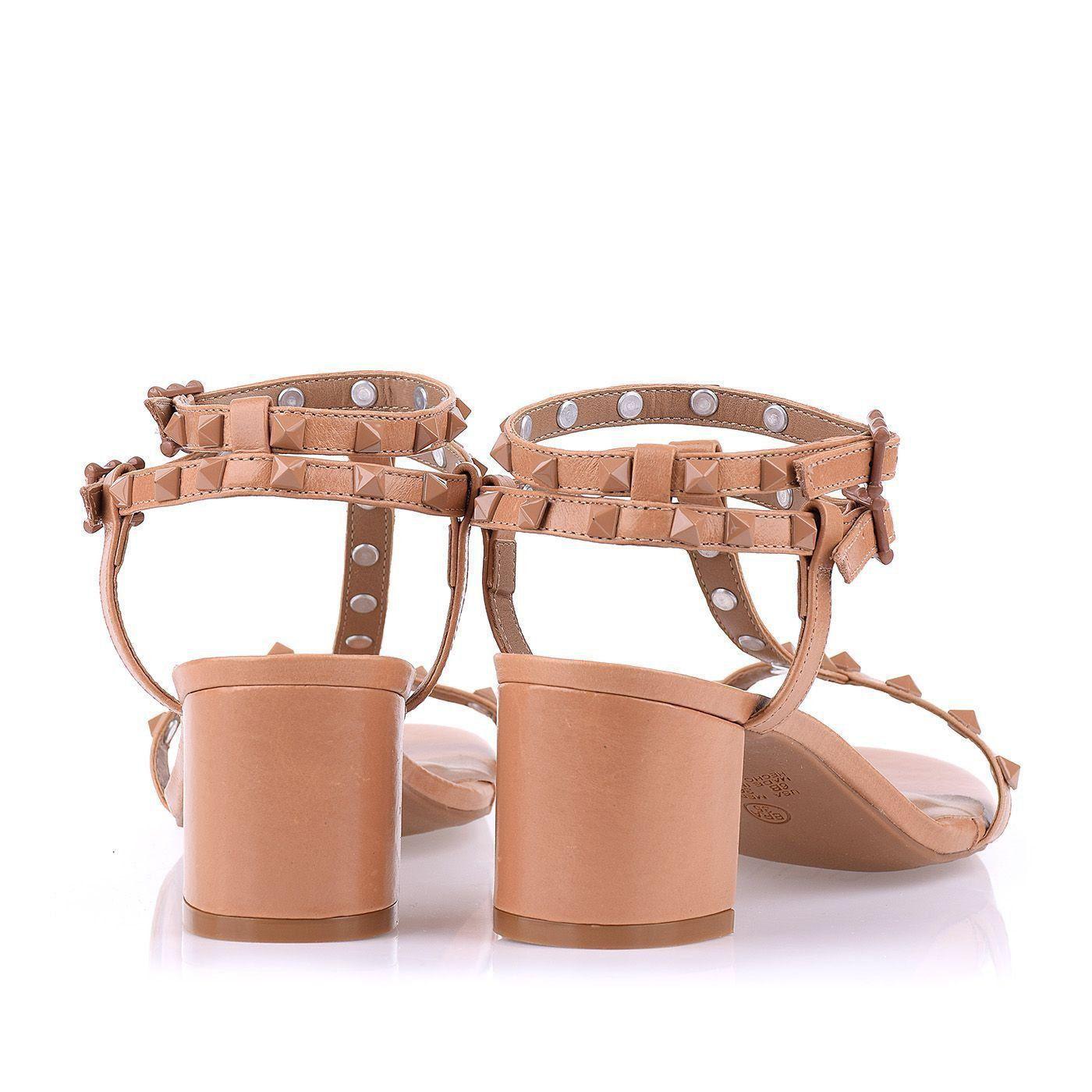 Sandália Salto Médio Prada Tan
