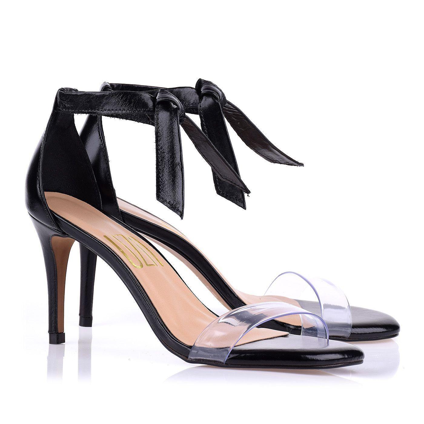 Sandália Salto Médio T.Silicone Cristal Preto