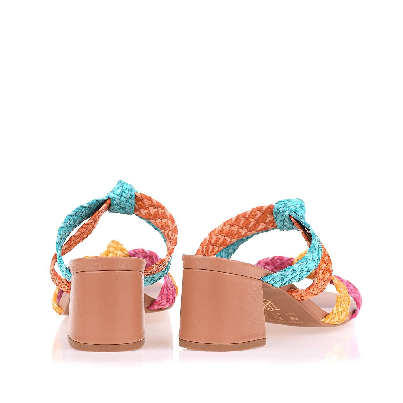 Sandália Salto Médio Trança Pink