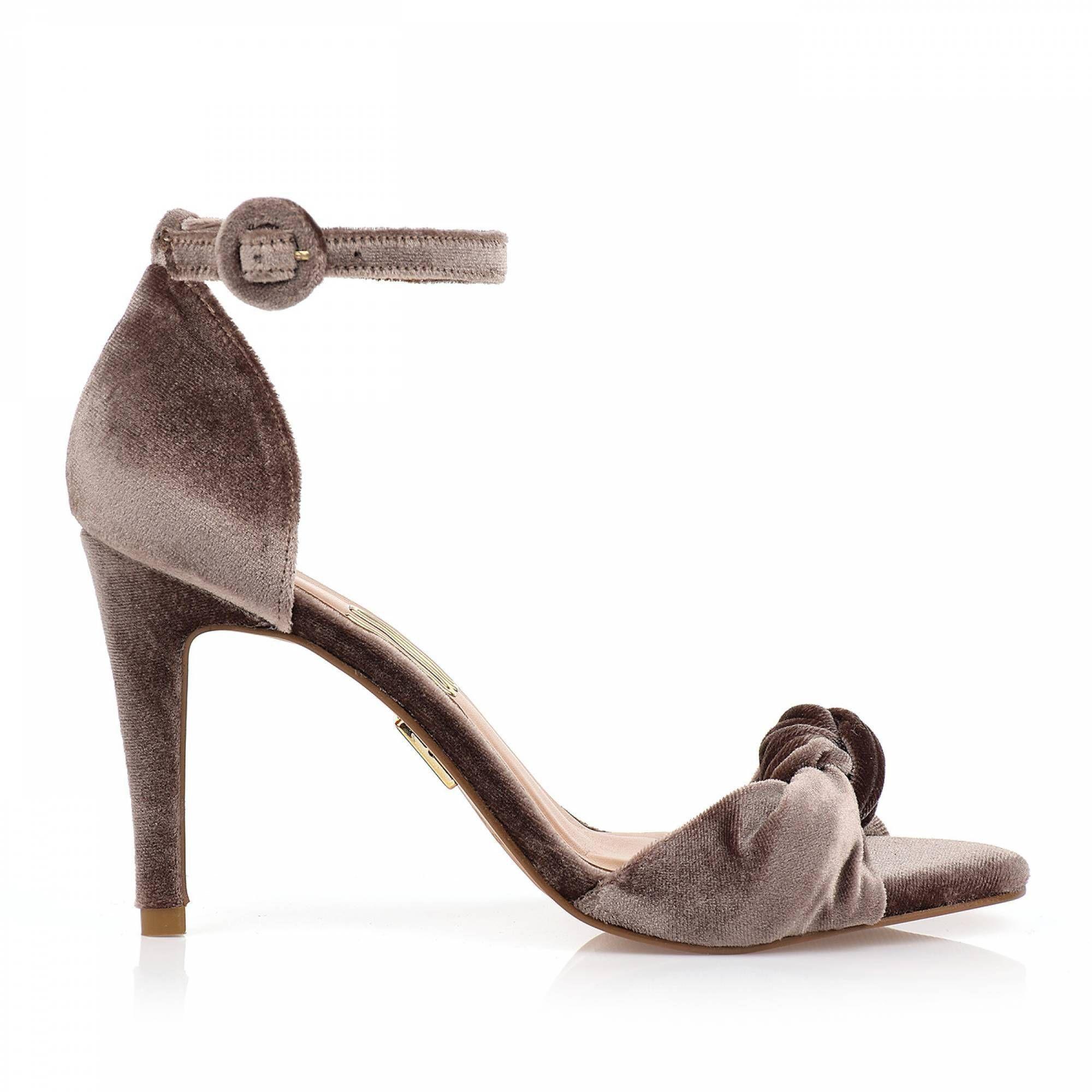 Sandália Salto Médio Veludo Caramelo