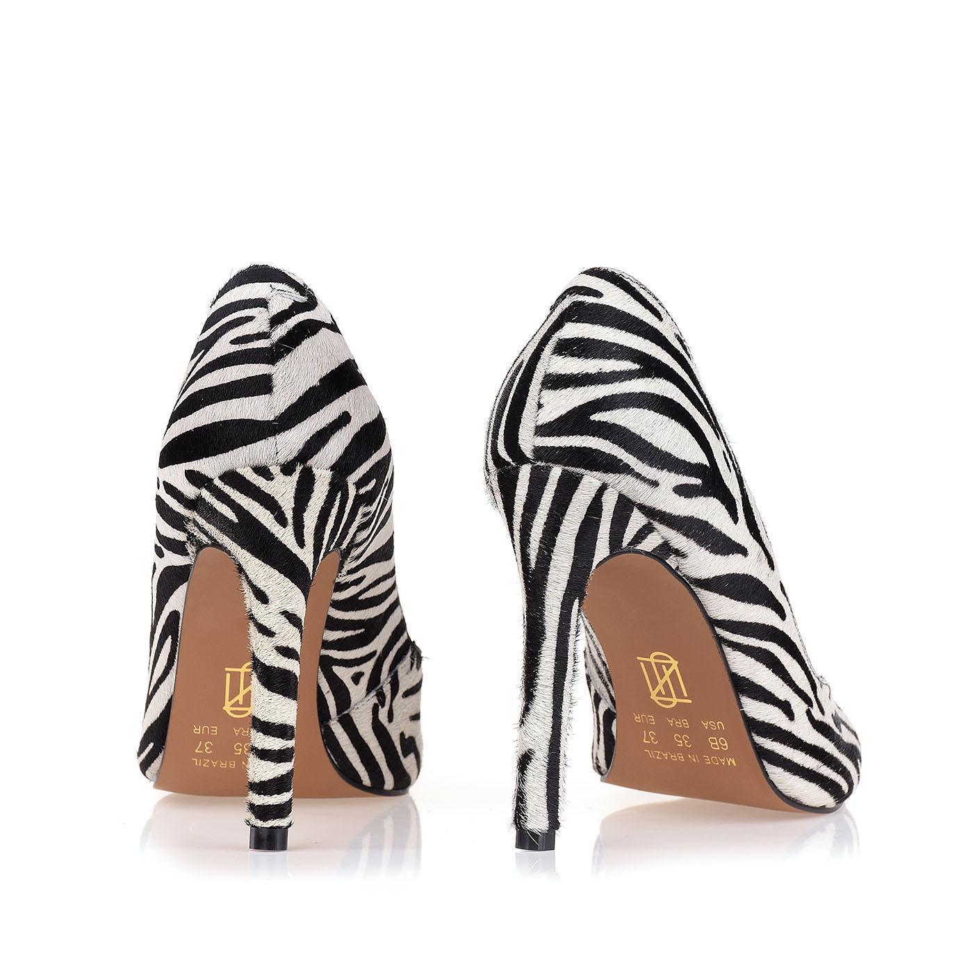 Scarpin Salto Alto Fur Zebra