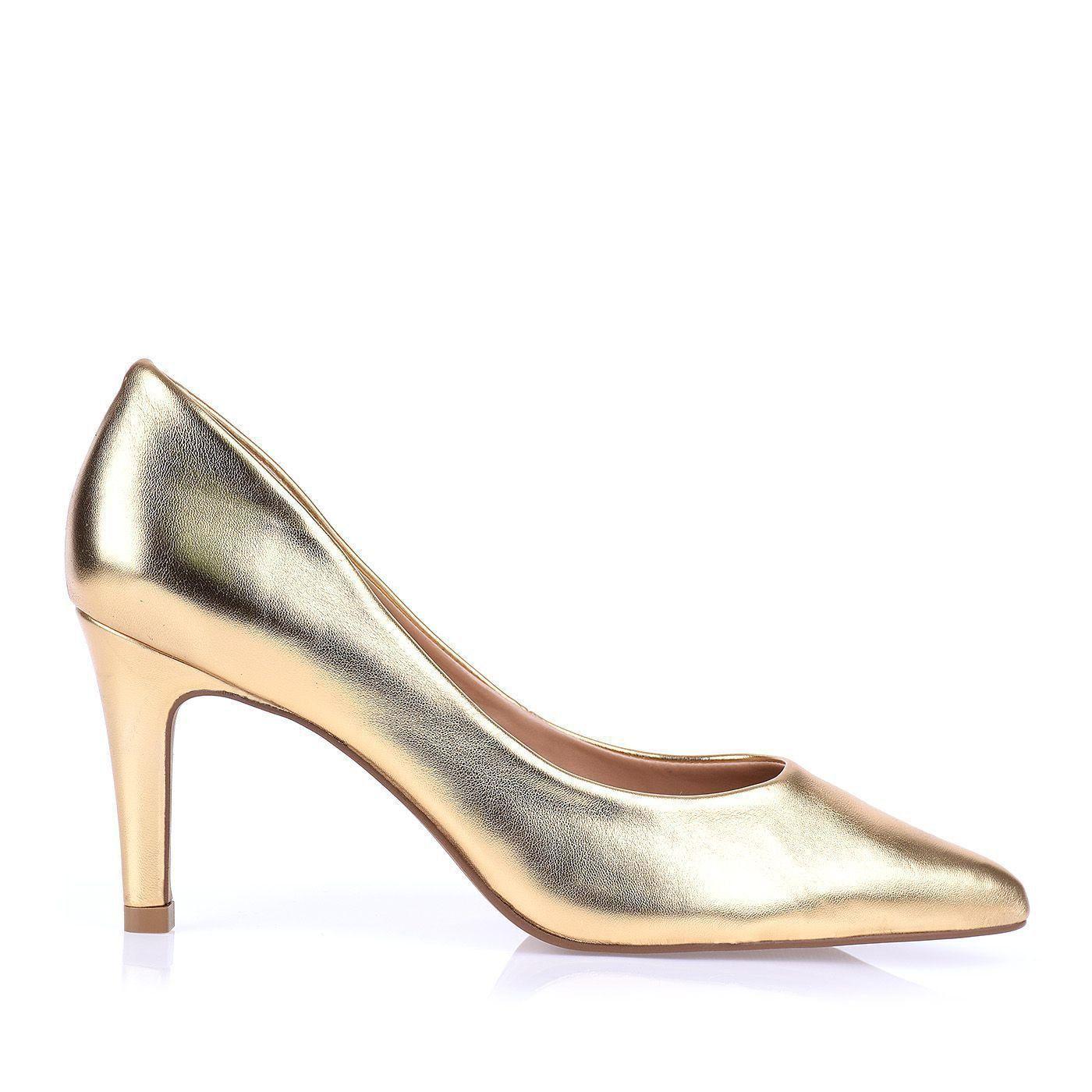Scarpin Salto Médio New Metal Ouro