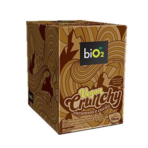Kit 10 Barras Vegan Crunchy Caramelo e Cacau 28g Bio2