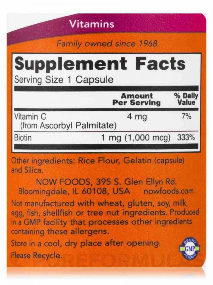 Biotina - Now Foods (1,000mcg - 100 caps)