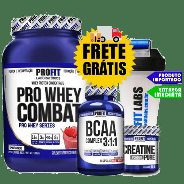 Combo Hipertrofia - Whey PRO + Creatina + Bcaa + Coqueteleira