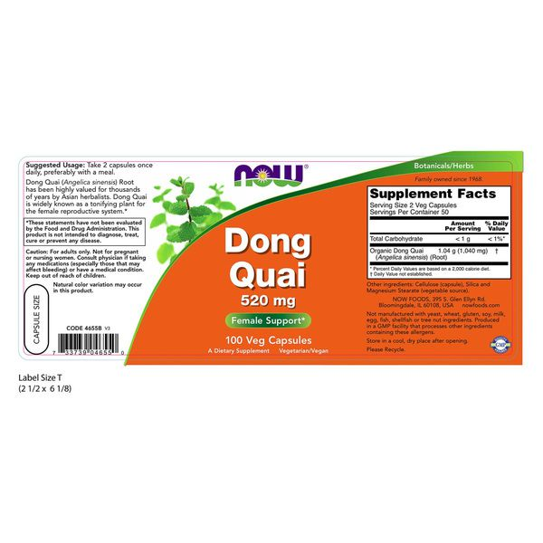 Dong Quai - Now Foods (520mg - 100cáps)