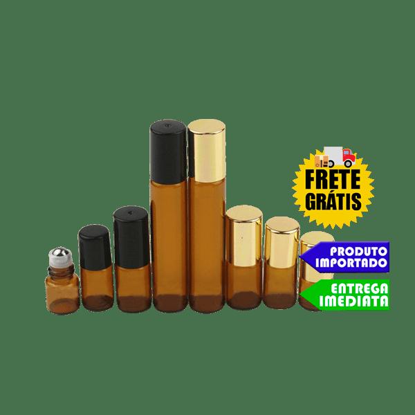 Frasco Vidro Ambar Roll On - 5 ML | 10 ML  | FRETE GRÁTIS (10 unidades)