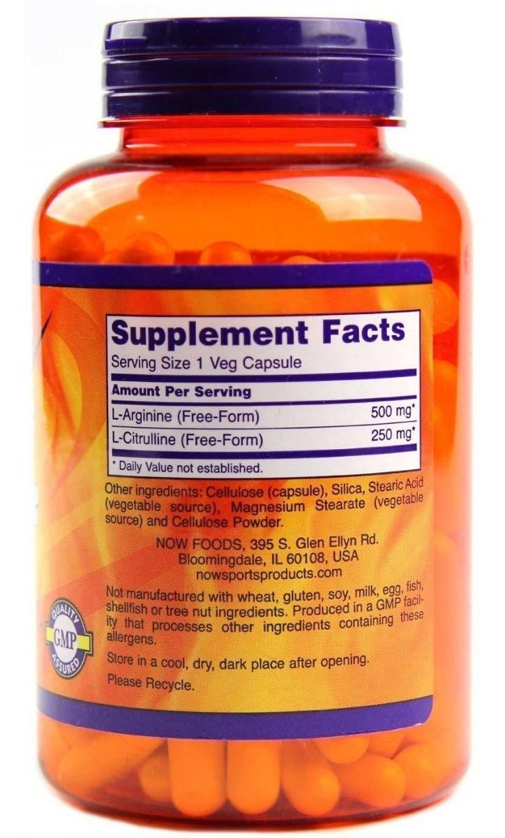 L Arginina e L Citrulina 500/250 - Now Foods