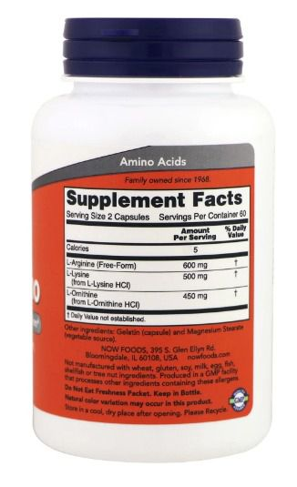L-Ornitina 500mg - Now Foods (60 Capsulas)