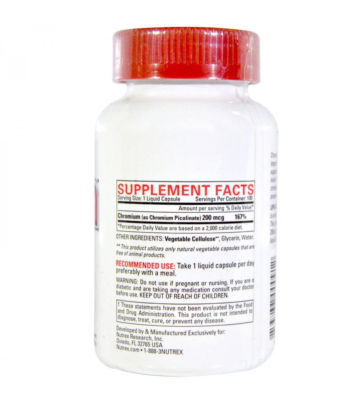Lipo 6 Cromo - Nutrex - 100 capsulas ( Picolinato de Cromo )