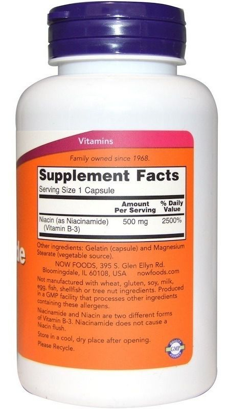 Niacinamida - Vitamina B3 - Now Foods - (500mg - 100 capsulas)