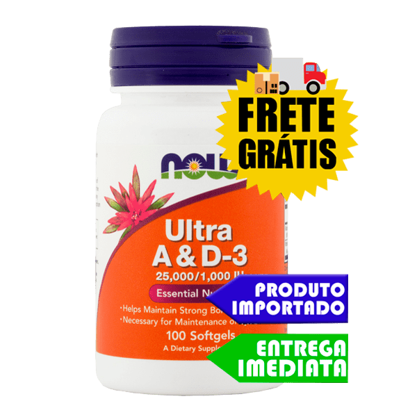 Vitamina A e D-3 (25,000/1,000) - Now Foods (100 cápsulas)
