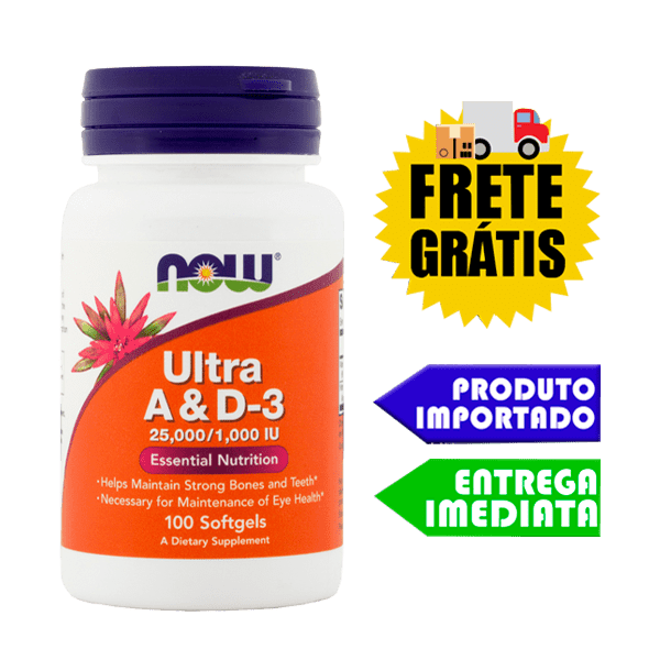 Vitamina A e D-3 (25,000/1,000) - Now Foods (100 cápsulas)