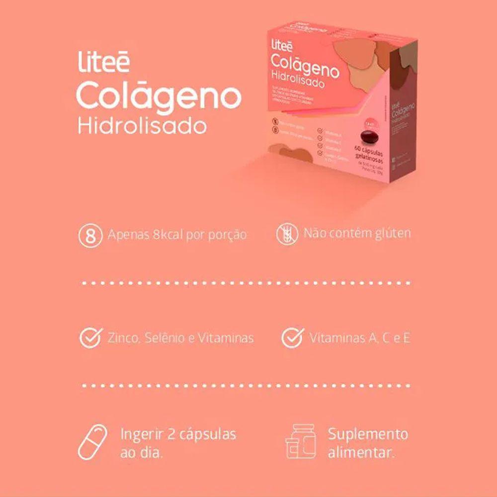 Colágeno Hidrolisado Litee 60 Cápsulas Gelatinosas
