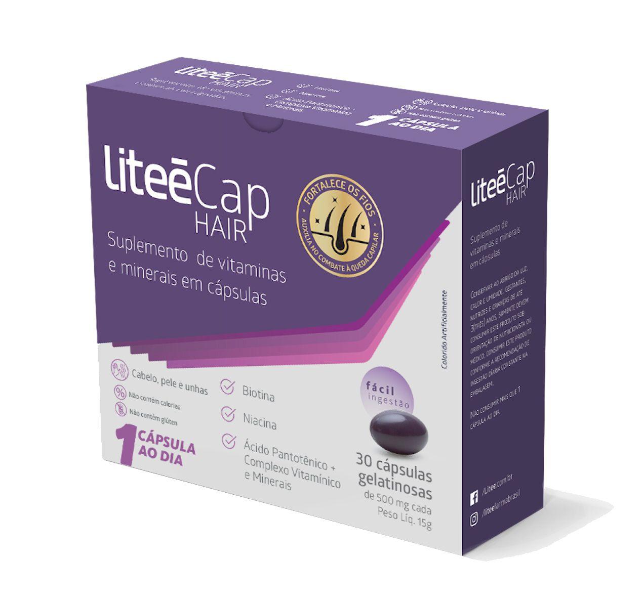 Compre 3 unidades de LiteeCap Hair e ganhe uma bolsa multiuso