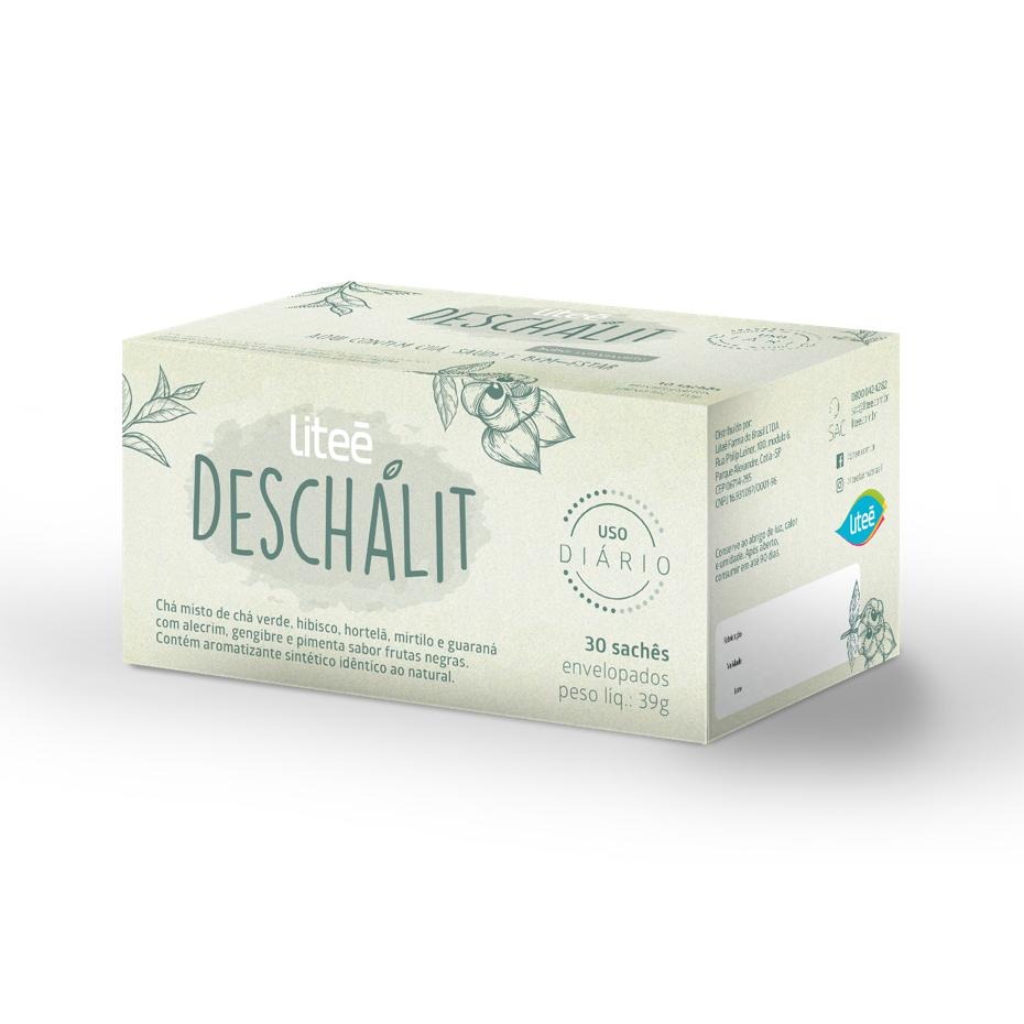 DESCHALIT Chá Misto Termogênico Sabor Frutas Negras - 30 Sachês