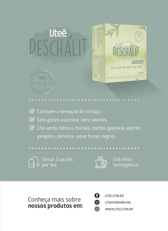 DESCHALIT Chá Misto Termogênico Sabor Frutas Negras - 60 Sachês