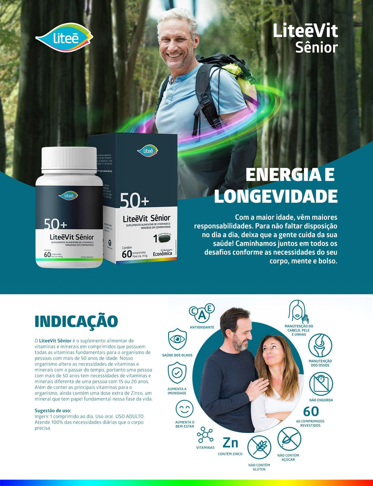 Kit com 4 LIteevit Senior - Multivitaminico 50+