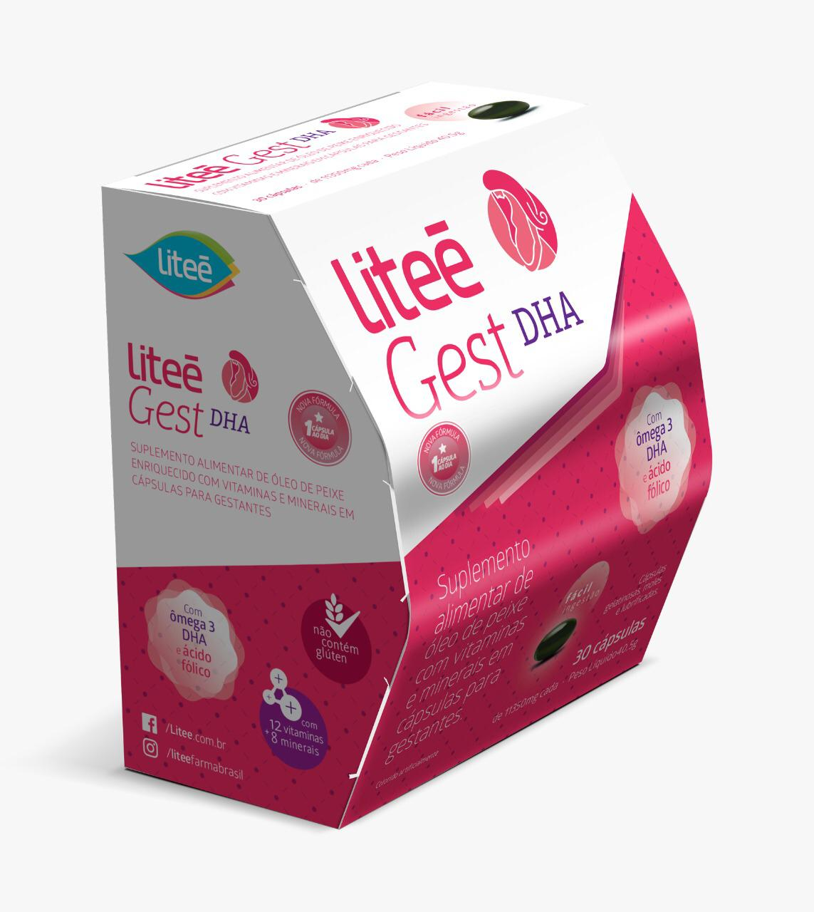 LiteeGest DHA Multivitamínico para GESTANTES com  Ácido Fólico ,  Ômega3  e Vitaminas - 30 Cápsulas Gelatinosas