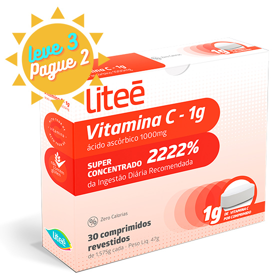Vitamina C Ácido Ascórbico 1G  - 30 comprimidos revestidos - 2222%  IDR