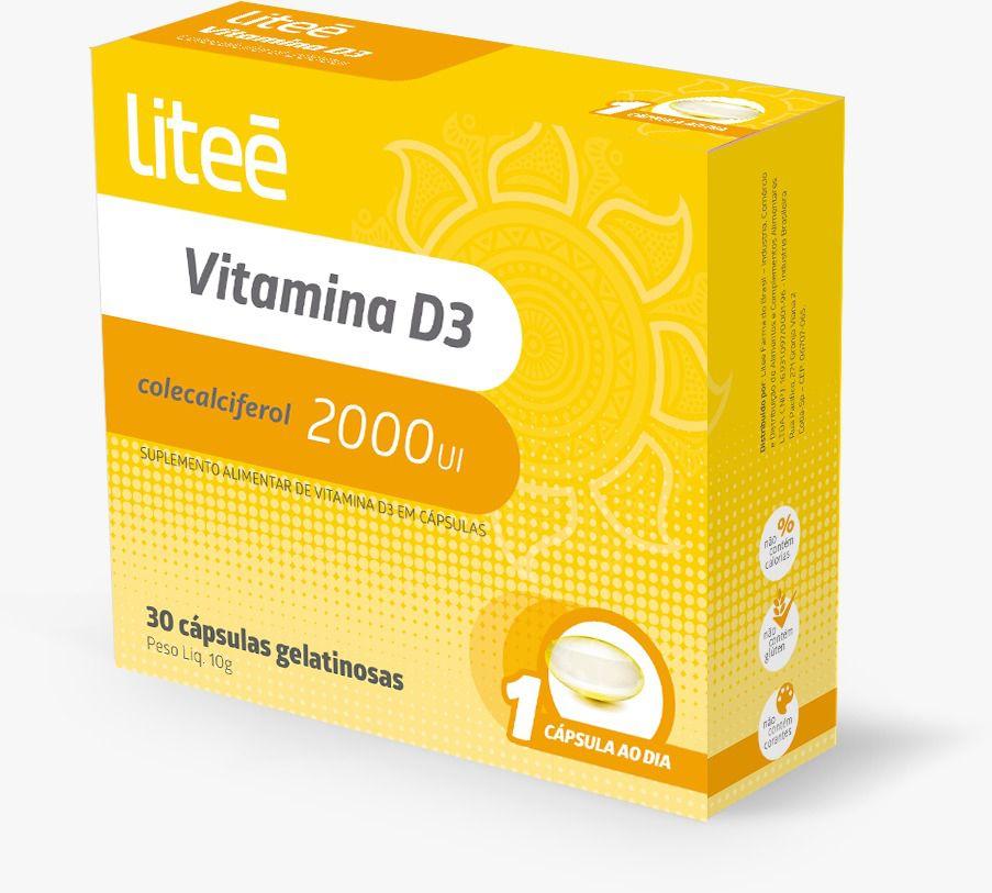 Vitamina D3 Colecalciferol 2000 UI 5ug - 30 cápsulas gelatinosas