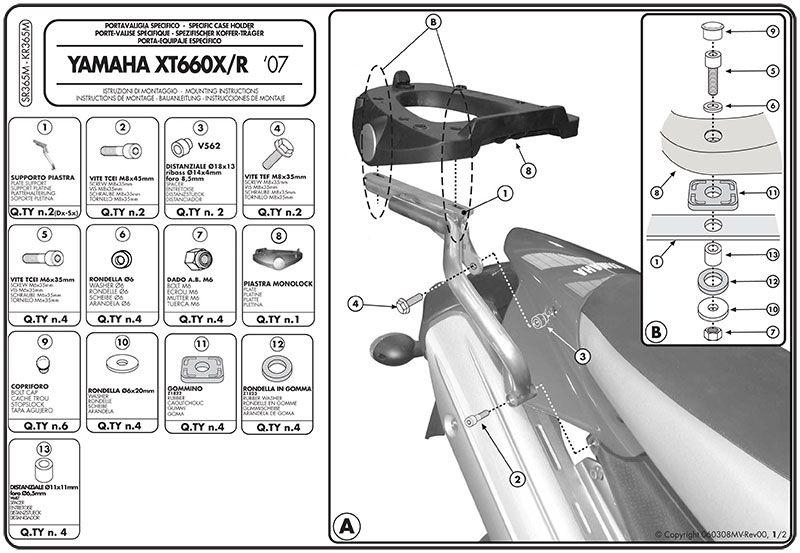 Base Bau Givi Monolock Xt660r 08 Sr365m