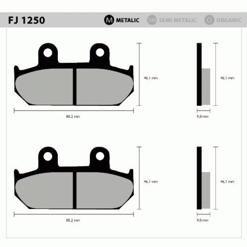 Pastil/freio Fischer Shadow600 Diant 1250m