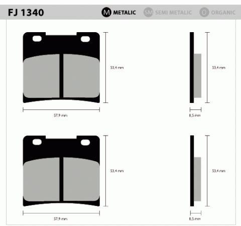 Pastil/freio Fischer Suzuki Custon Dian/tras 1340m