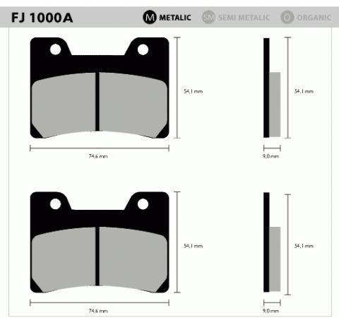 Pastil/freio Fischer V-max 1200 Dian Fj1000a/m