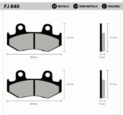 Pastil/freio Fischer Xlx350/lead Dian Fj840sm