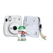 Kit Câmera INSTAX Mini 11 com PACK 10 Fotos e Bolsa CRYSTAL Branco