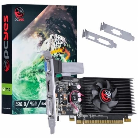 Placa de Video Nvidia Geforce GT 710 2GB DDR3 64 BITS com KIT LOW Profile Single FAN - PA710GT6402D3LP VGA/DVI/HDMI 30676